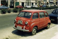 Maltese Multipla, Rare and highly collectable and probably long gone now but seen at Sliema in 1984.The original Multipla was based on the Fiat 600 and featured 3 rows of seats 30 years ahead of modern MPVs