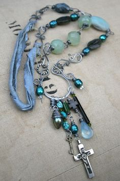 wire,beads,and fabric necklace