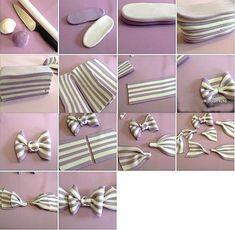 Fondant tutorial : stripy bow making Fondant Tips, Fondant Icing, Fondant Tutorial, Fondant Toppers, Fondant Cakes, Cupcake Cakes, Bow Tutorial, Fondant Recipes, Cake Recipes