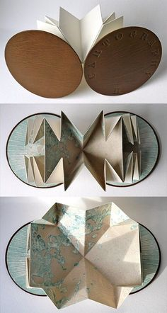 Louisa Boyd  Cartography   A Turkish map-fold book with etched pages, hand tooled leather cover and collagraph end papers. Her books are all very sculptural