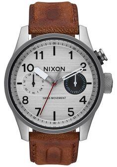 Nixon Safari Deluxe Leather Silver/Brown