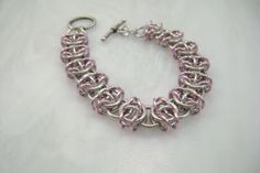 Silvery Pink Chain Maille Bracelet Shiny Pink Ice Chainmaille Celtic by KMAJewelryDesigns for $40.00