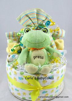 Frog Baby Diaper Cake Neutral Baby Shower by MsCarlasBabyCakes, $48.00