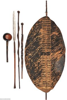 Deadly: An executioner's weapon, a stabbing spear, two status sticks, a shield. A collection of weapons used to slaughter British troops at the famous battle of Isandlwana African Tribes, African Diaspora, Indian Tribes, African Masks, African Art, African Spear, Zulu Warrior, Primitive, Colonial