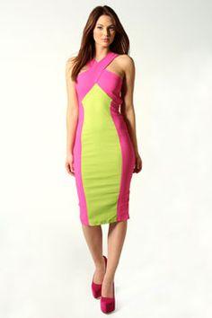 Freya Twist Neck Back Illusion Midi Dress