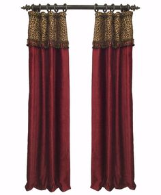 These Curtain Panels combine a red chenille and leopard print for a look that is sure to be a statement in any room! They are accented with oversized jeweled beads...