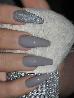 Amazing medium gray nails acrylic coffin with an accent glitter nail! - Amazing medium gray nails acrylic coffin with an accent glitter nail! Amazing medium gray nails acrylic coffin with an accent glitter nail! Grey Nail Art, Grey Acrylic Nails, Summer Acrylic Nails, Gray Nails, Acrylic Art, Matte White Nails, Long Nail Art, Grey Art, Summer Nails