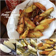 BATATA RÚSTICA ASSADA AO TOMILHO COM ALHO  Trocar a Batata Frita pela Batata Rústica, além de mais saudável, facilita e muito a nossa vida, na cozinha. Sem sujeira no fogão, vai crua e com casca direto ao forno e enquanto assa, a gente prepara o restante do menu. ;) Cozinha prática hoje: http://www.montaencanta.com.br/acompanhamentos/batatas-rusticas-assadas-ao-tomilho/