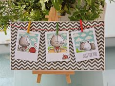 """www.maikreations.de Cute card using the """"I knead you"""" stamp set from MFT stamps and polaroid frames.  If you'd like to see more pictures visit my blog ;o) I'd love for you to stop by!"""