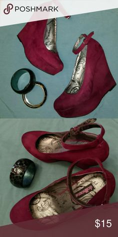 Wine Dollhouse Platforms Red/ Burgundy 1 1/2 platform.  4 1/2 inch heel. Worn once. Ankle straps.color is wine more red than burgundy. Great for Christmas or Valentine's Day. Dollhouse Shoes Platforms