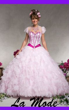 Sweetheart Neckline Beaded Organza Quinceanera Dress via La Mode. Click on the image to see more!