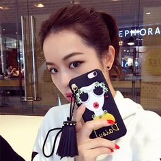 >> Click to Buy << Korean Modern Girl Phone Cases Coque for iPhone 7 7plus 6 6/6s Plus Diamond Decoration Big Rivets Tassel Drop Silicone Fundas #Affiliate
