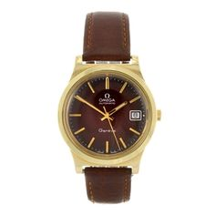 A gentleman's gold plated automatic Omega wrist watch.