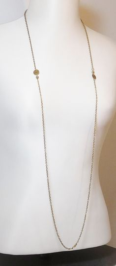 Long Chain Necklace, 53 inches, Antiqued Gold Tone, Dull, Unpolished, Vintage Costume Jewelry