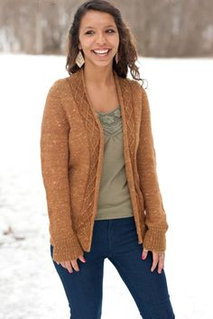 The Schoodic Cardigan by knitbot. Seamless, raglan sleeve, cable collar.