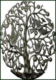 "Birds in Tree Metal Wall Hanging - Haitian Oil Drum Art - 24"" x 34"" - $114.95 -  Interior or Garden Décor   * Found at  www.HaitiMetalArt.com"