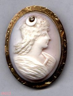 4b87d8fc1 Hand Carved Shell CAMEO Brooch Goddess Diana 10K with Diamond Item No: 10212