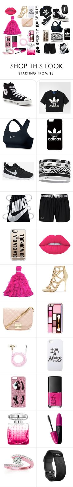 """""""Go Sporty"""" by rzing ❤ liked on Polyvore featuring Converse, adidas, NIKE, Casetify, Lime Crime, Sergio Rossi, Forever 21, LAUREN MOSHI, Chiara Ferragni and NARS Cosmetics"""