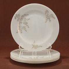 Federal Golden Glory 4 Dinner Plates Milk Glass Vtg.