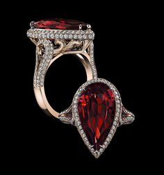 Robert Procop Exceptional Jewels:  7.96ct deep red no heat ruby with1.13ct diamonds in 18k rose gold