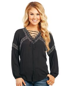 267e1b45631aa Cowgirl Up Ladies Black Embroidered Peasant Blouse Peasant Blouse
