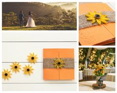 Rustic burlap sunflower wedding theme with quilled flowers Garden Party Invitations, Sunflower Wedding Invitations, Autumn Weddings, Fall Wedding, Wedding Dress, Quinceanera Invitations, Burlap, Stella York, Rustic