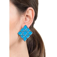 Alhambra turquoise square earrings Rich turquoise adds another dimension to these simple yet striking and incredibly detailed earrings inspired by the geometric patterns at Alhambra.
