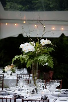 Lush Fern & phalaenopsis orchids centerpiece with willow branches // outdoor, summer, tropical, wedding, tall, luxe