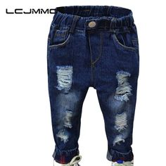 LCJMMO Fashion Denim Pants Boys Ripped Jeans Baby Boys Jeans Kids Clothes Cotton Casual Children's Jeans Kids Trousers  2-6 Yrs