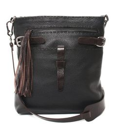 Another great find on #zulily! Black Brandon Leather Crossbody Bag by Carla Mancini #zulilyfinds