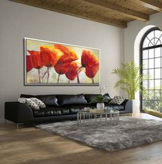 Luxurious red poppies extra large wall art that warms your home and fills it with the blessing of light, of joy & blooming flowers. Original painting by Miri Lavee. #originalpainting #extralargewallart #extralargepainting #flowerpainting #poppypainting #redpoppy #poppy