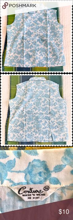 """Vintage cotton mix floral print sleeveless shirt Vintage cotton mix floral print sleeveless shirt. Bought as vintage dead stock new. Worn once and professionally laundered. No fabric contents but it looks like cotton poly mix. Chest across about 21"""" shoulder width about 16"""" and length about 22"""". (See the last 3 photos) Tops Blouses"""