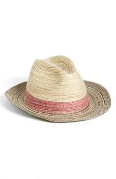 A timeless fedora takes a textural turn in striped, woven fabric with the look of straw.  Cotton/polyester. By Nordstrom