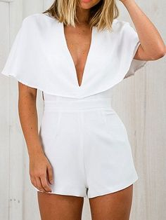 Shop White Plunge Neck Cape Romper Playsuit from choies.com .Free shipping Worldwide.$12.9
