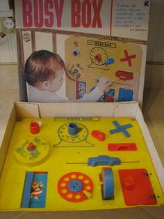 I had this exact one. Found it on eBay. Now I have it again. Poor impulse control and nostalgia really should keep away from eBay, that's all I'm sayin'.... Vintage Kohner Busy Box Baby Crib Playpen Toy in Original Box