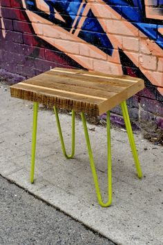 Reclaimed wood Side table with Hair pin legs by LeventhalVermaat