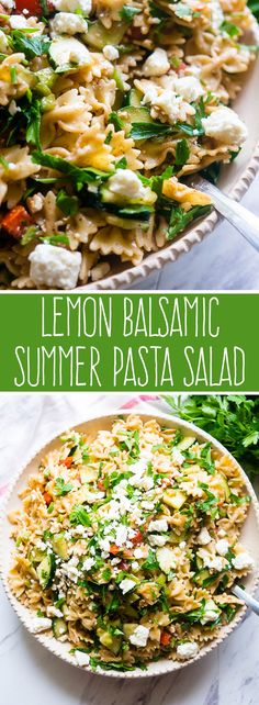 Balsamic Summer Pasta Salad Lemon Balsamic Summer Pasta Salad- this was a good salad. I would add more lemon but that is no surprise LOL.Lemon Balsamic Summer Pasta Salad- this was a good salad. I would add more lemon but that is no surprise LOL. Summer Pasta Salad, Summer Salads, Pasta Salad Feta, Pasta Lunch, Cooking Recipes, Healthy Recipes, Cooking Ribs, Bariatric Recipes, Cat Recipes