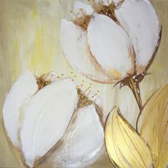 sold set of 2 canvas Original art Textured Flower by YueJinArt
