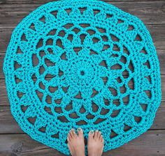 Turquoise Pearl Patio Porch Cord Crochet Rug by byCamilleDesigns