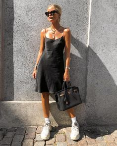 Pin by rosie jamieson on style fashion, sneakers fashion outfits, black sli Sneakers Fashion Outfits, Dress With Sneakers, Mode Outfits, Dress Outfits, Casual Outfits, Slip Dress Outfit, Sneaker Outfits, Slip Dresses, Outfit Work