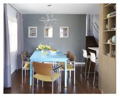 Pop of color with dining table
