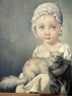 Victoriaans meisje met haar kat.. Olieverfschilderij.