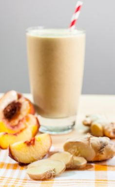 Ginger Peach Smoothie Recipe #VegaRecipeSmoothie #Vegan #PlantBased #GlutenFree #DairyFree