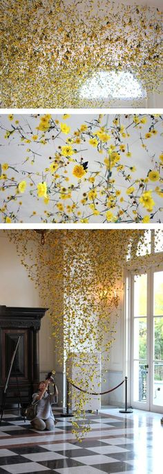 A jaw dropping display. Imagine the moment when you walk in and see this explosion of colour! I love these flowers. Land Art, Instalation Art, Flower Installation, Light Installation, Arte Floral, Yellow Flowers, Cascading Flowers, Hanging Flowers, Art Plastique