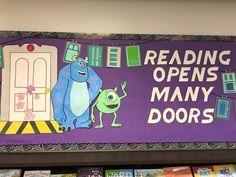 Monster Bulletin Boards, Character Bulletin Boards, Monster Theme Classroom, Interactive Bulletin Boards, Reading Bulletin Boards, Disney Classroom, Interactive Display, Classroom Posters, Classroom Themes