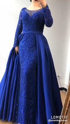 Hijab Evening Dress, Beaded Evening Gowns, Muslim Prom Dress, Blue Evening Dresses, Stylish Dress Designs, Stylish Dresses, Pretty Prom Dresses, Long Bridesmaid Dresses, Wedding Dress Organza