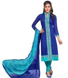 Buy Blue embroidered cotton semi stitched salwar with dupatta wedding-salwar-kameez online