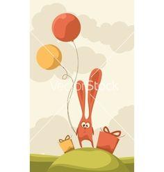 Birthday bunny balloon card vector by nmfotograf on VectorStock®