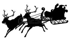 natale bianco e nero: Slitta della Santa sagoma di agitando Babbo Natale nella sua slitta e renne