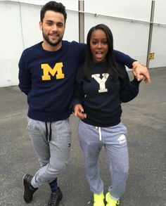 "lifelovemusiq: "" Aja Naomi King and Jack Falahee wearing matching outfits on set  """